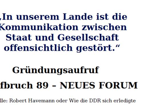 """Gründungsaufruf """"Aufbruch 89 – NEUES FORUM"""""""
